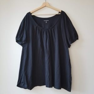 Woman Within Ruffled Black Blouse Shirt Tee 4X